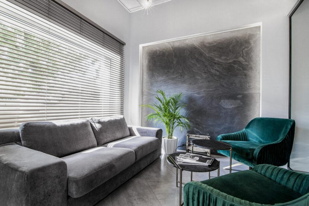 salon z zielonymi fotelami