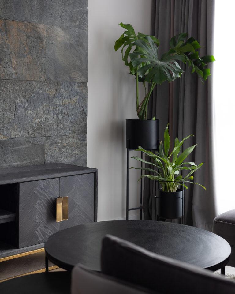 kamień naturalny na ścianie w salonie