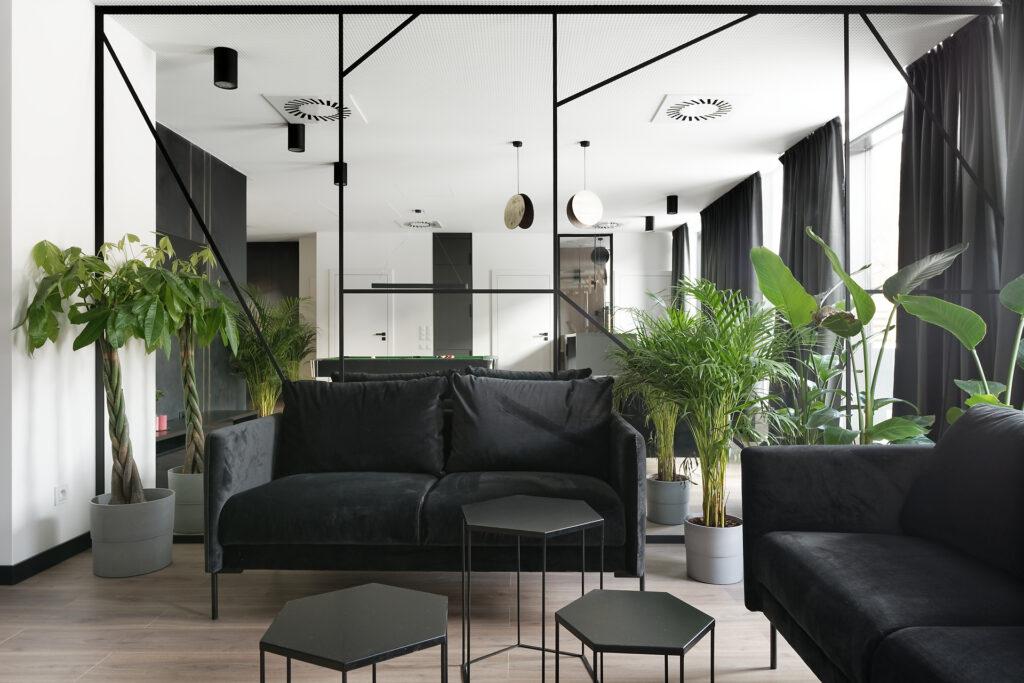 salon z lustrzaną ścianą