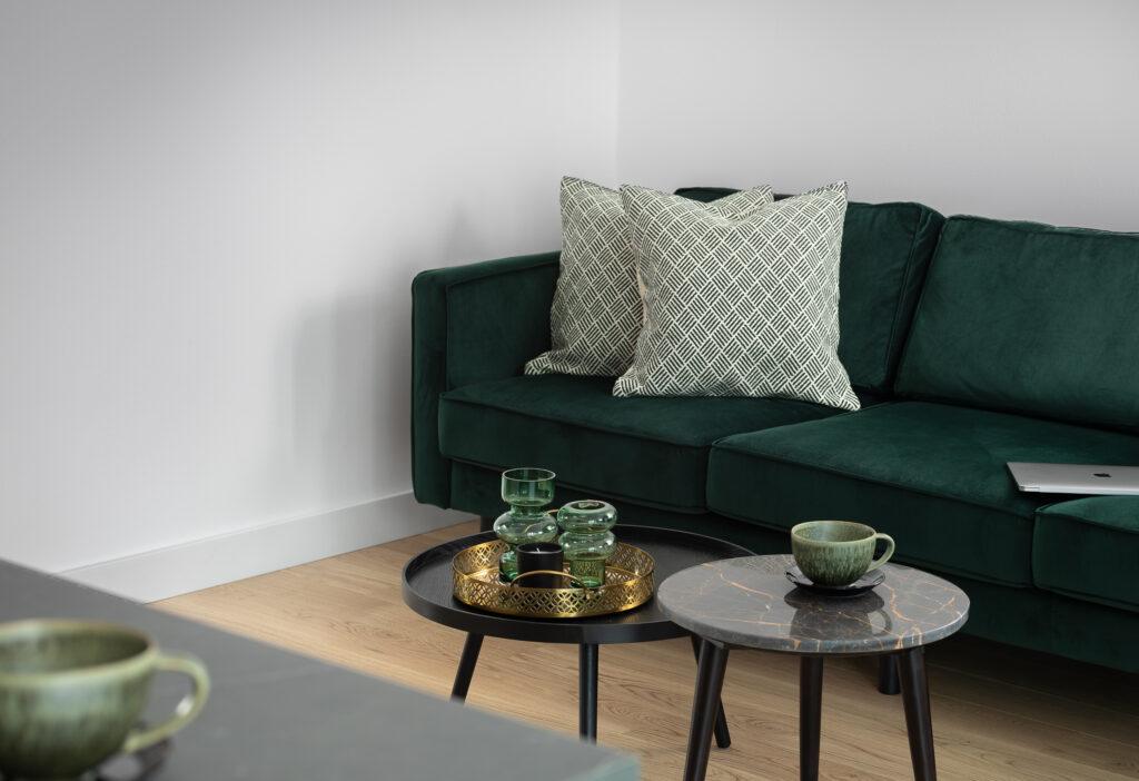 Salon z zieloną kanapą